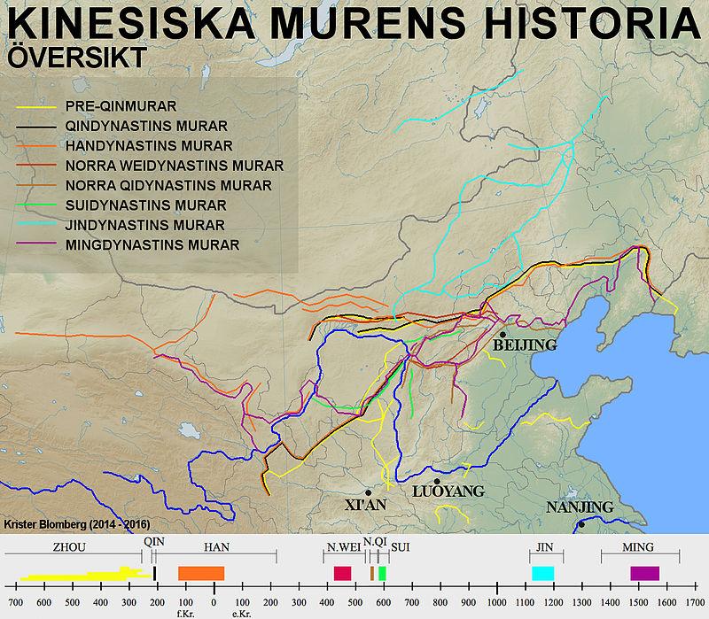 Карта Великой китайской стены