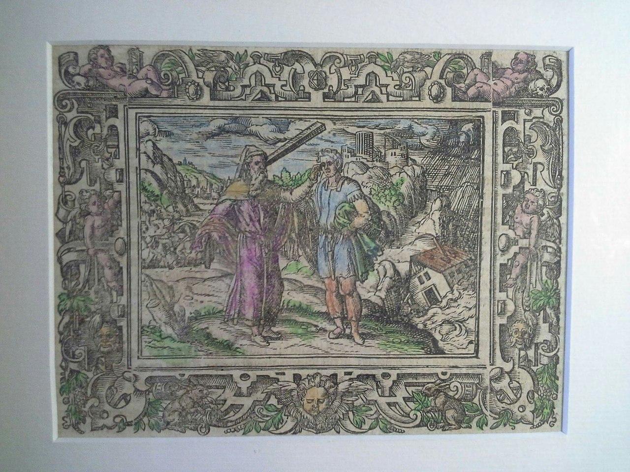 Бог наставляет Ноя. Гравюра на дереве 1539г. Художник Амман.