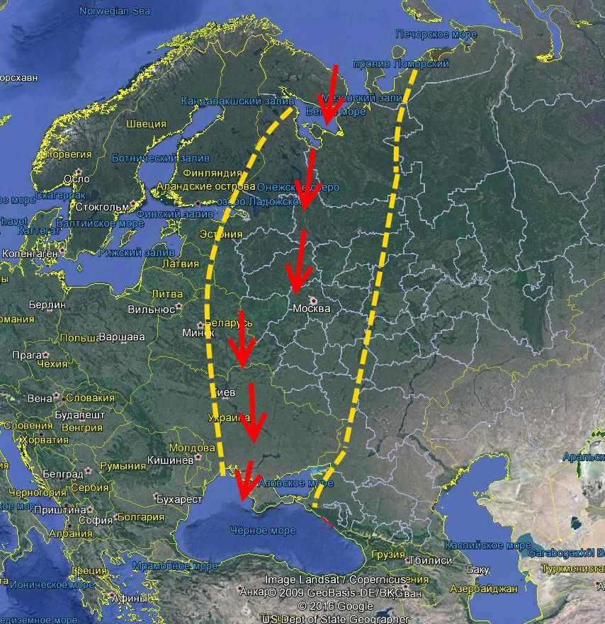 Движение потопной волны с Баренцева в Черное море