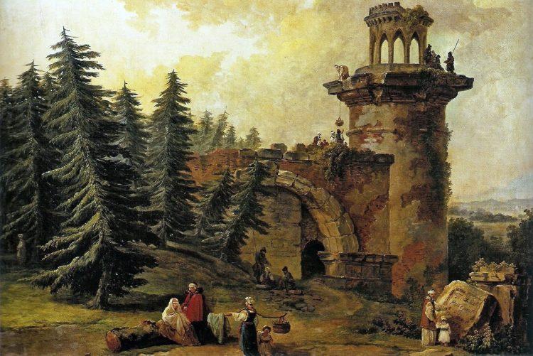 Věž-ruina v Jekatěrinském parku Carského Sela.