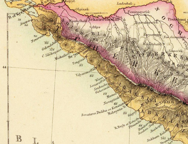 Фрагмент Черноморского побережья Кавказ английская карта 1859 г.