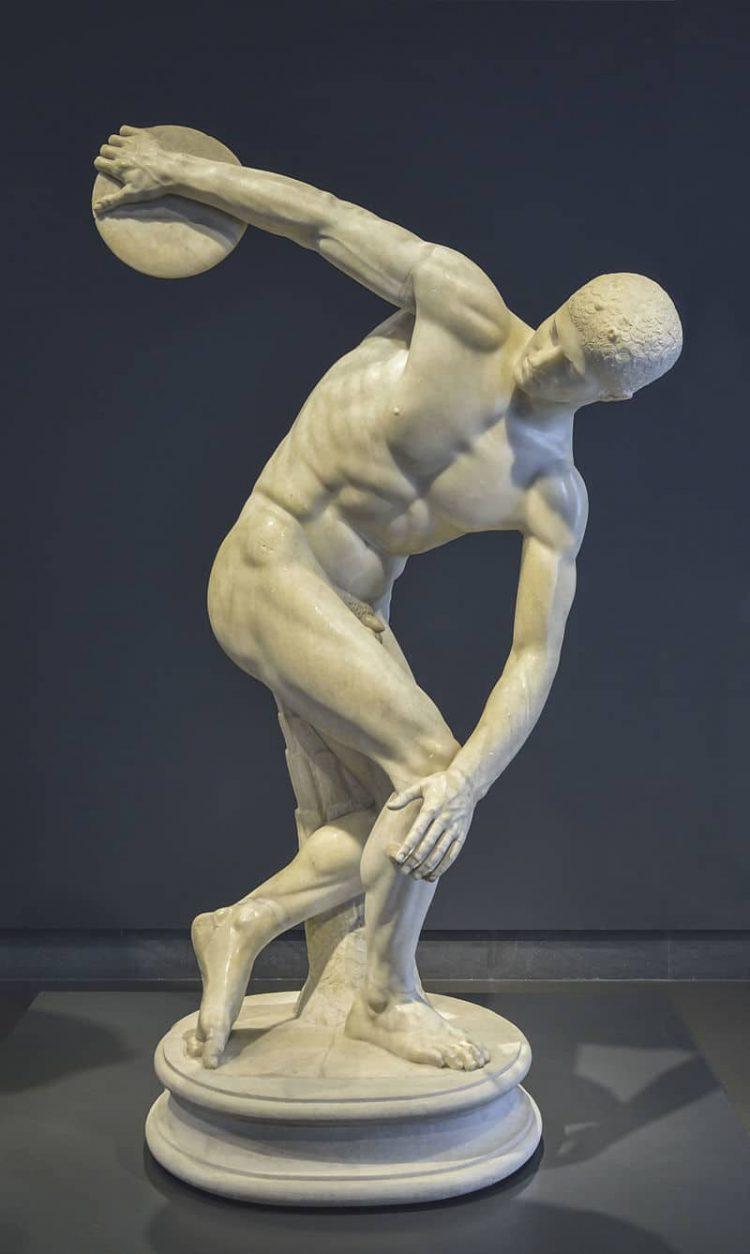 Myron, Discobolos, římská mramorová kopie antické řecké sochy, palác Massimo, Řím