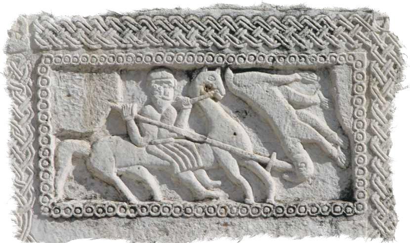 Битва Перуна со Скипером. Камень в основании церкви в г. Сплит. Хорватия.