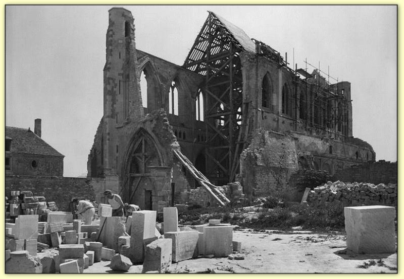 Die Rekonstruktion der Abtei Saint Germain in den Ardennen (Deutschland) 1949