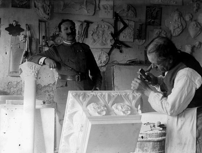 Steinmetz-Werkstatt. Deutschland 1916.