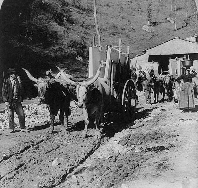Marmor-Transport. Carrara. Italien, 1902.
