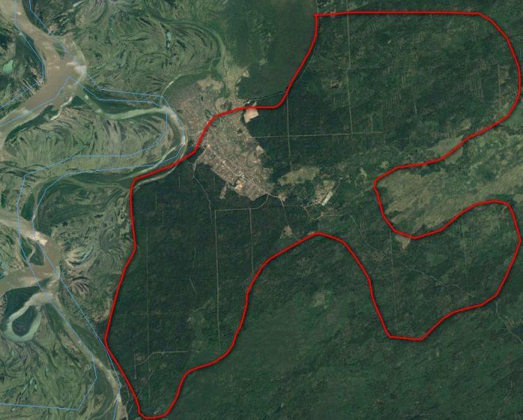 Mit der roten Linien sind sie Höhen hervorgehoben, die von der Sintflut nicht berührt wurden.
