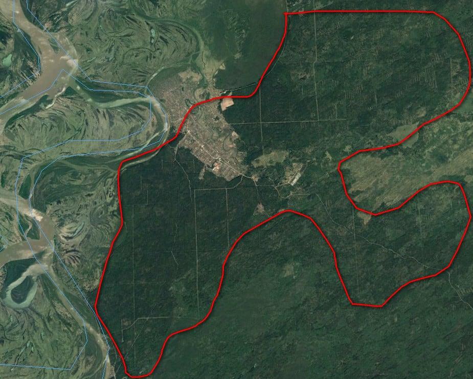 Красной кривой выделены высоты, не затронутые потопом.