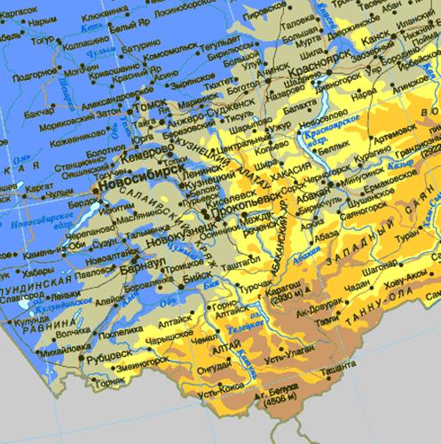 Die Karte der Sintflut. So hat Chakassien vermutlich ausgesehen, als der Meeresspiegel um einige Dutzend Meter höher lag.