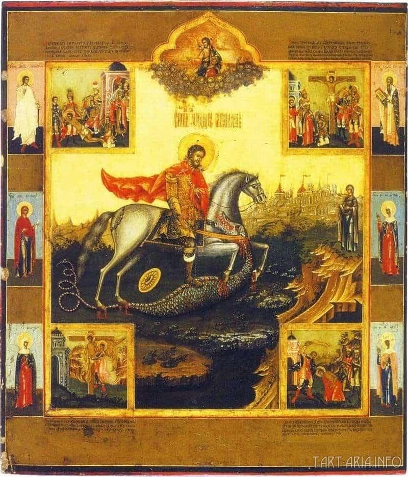 Святой Феодор Стратилат, поражающий мечом змея. Русская икона XIX в.
