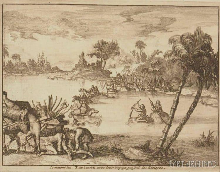 Tartarští vojáci se plaví přes řeku