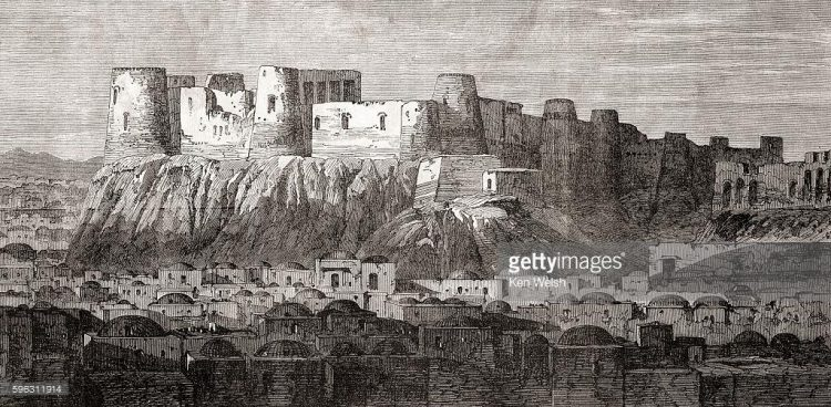 citadela Herátu, Afghánistán, rytina z 19. století