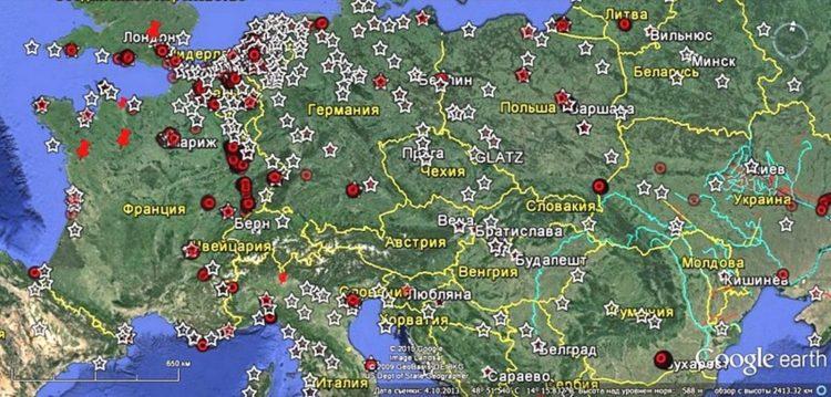 Некоторые из известных звёздчатых фортов в Европе