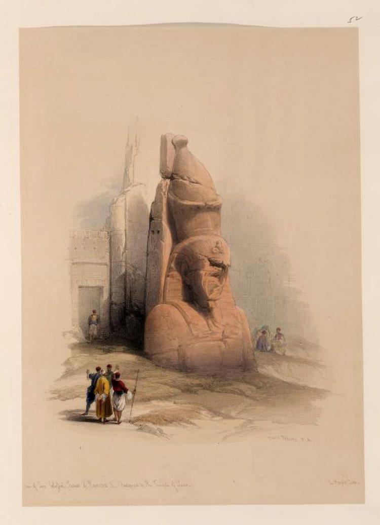 Литография Дэвида Робертса Одна из двух статуй Рамзеса 2. Луксор 1838 г.