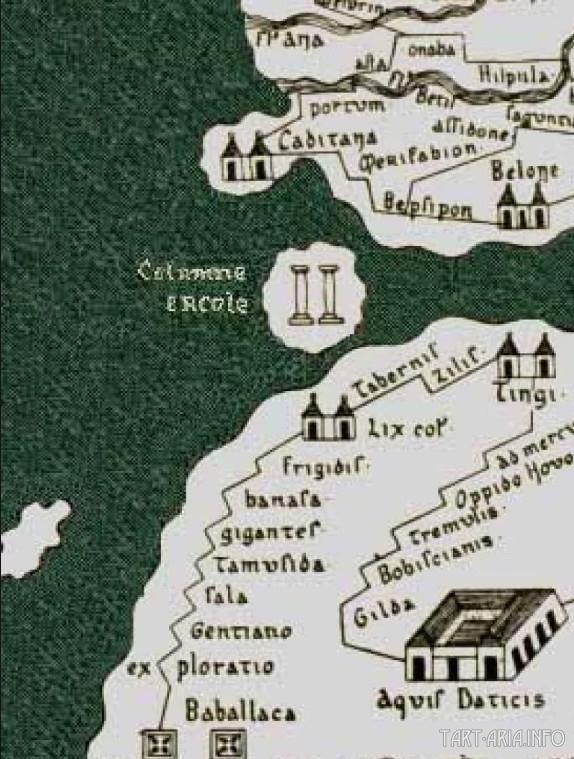 Геркулесовы столбы на фрагменте средневековой карты