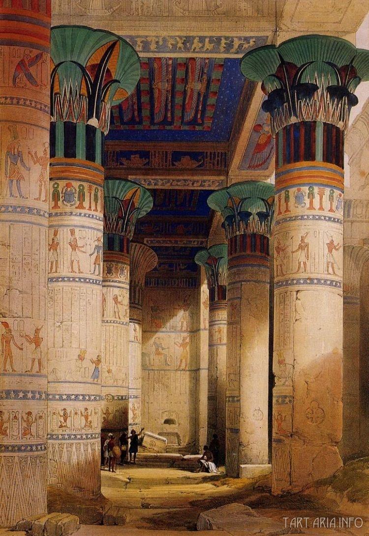 Филе, храм Исиды, колонны литография