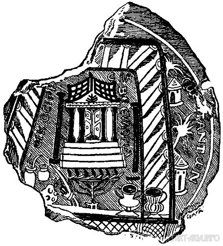 Изображение стеклянной чаши 3-го века (нашей эры) с изображением храма Соломона. Яхин и Воаз - отдельные черные колонны, показанные по обе стороны от входных ступеней.