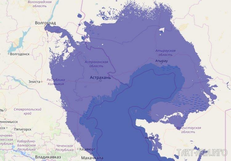 Реконструкция береговой линии при уровне Каспийского моря в +1 метр с помощью компьютерной программы