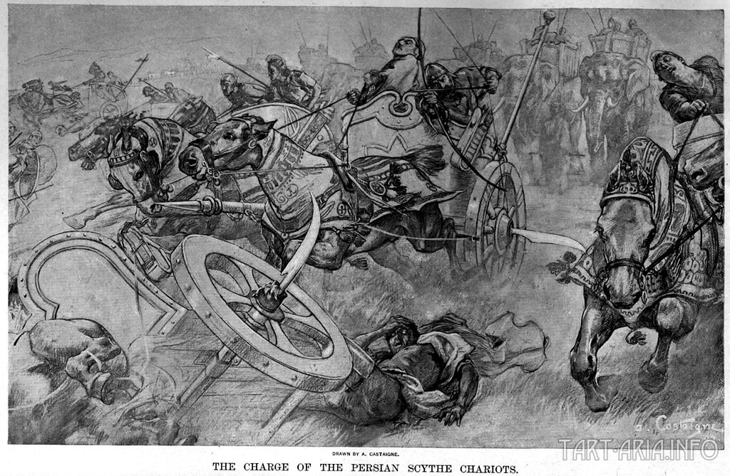 Взятие персидских колесниц с косами кос в битве при Гаугамеле, Андре Кастанье (1898-1899). Источник