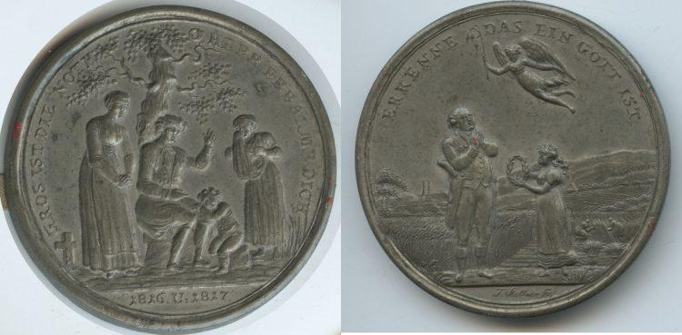 оловянная эмблема с цветными медными гравюрными вставками. О голоде 1816 года и Хорошем урожае 1817.