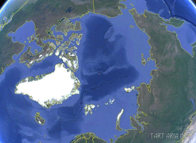 Спутниковая карта арктического района