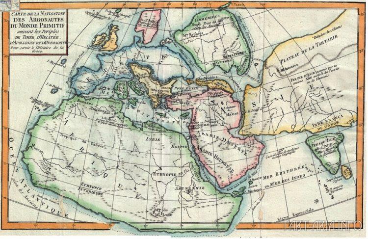 Карта навигации первобытного мира, Делиль де Саль, 1770. Источник