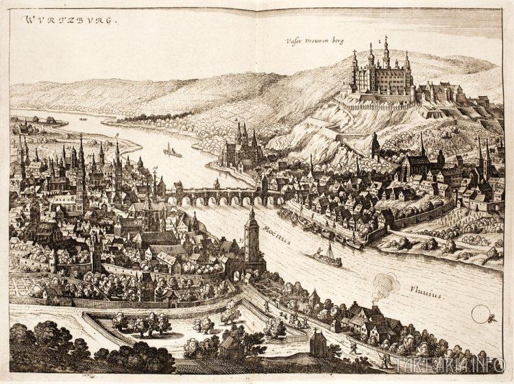 Панорама Вюрцбурга с крепостью Мариенберг, 1642г. Источник