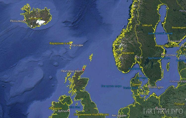 Шотландия и пролив Пентленд на спутниковой карте