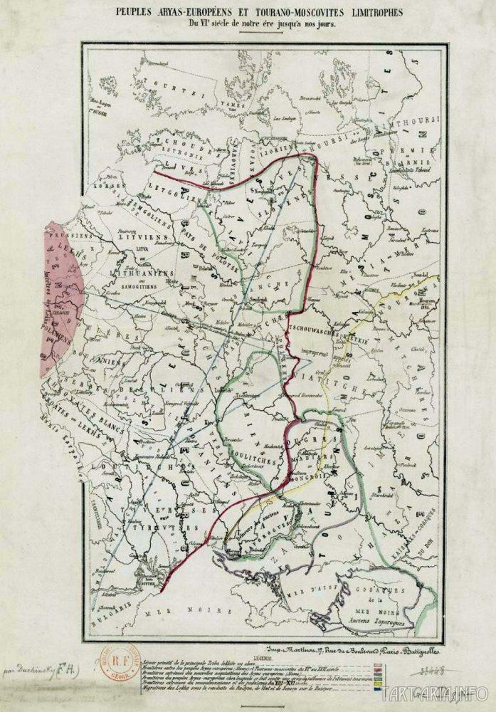 Границы арийско-европейских и турано-московитских народов 6 века до наших дней. Источник